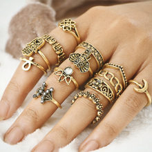 13 pcs 1Set Midi Rings Set Antique Gold Silver Color Knuckle Finger Ring Crystal Hollow Flower Elephant Fatima Hand Moon Jewelry(China)