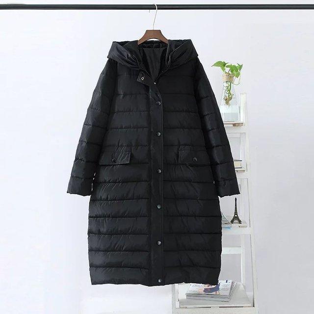 5xl2016New x-larga con capucha Informal chaqueta de abrigo de invierno Las Mujeres Parka abajo y abrigos esquimales negro caliente gruesa Femenina abrigo Parka Más Tamaño