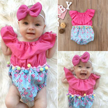 Newborn Baby Girls Floral Romper Jumpsuit Summer Sunsuit Clothes Outfits Kids Clothing baby girl clothes summer ruffled sleeves blue white plaid baby romper newborn toddler kids jumpsuit sunsuit outfits