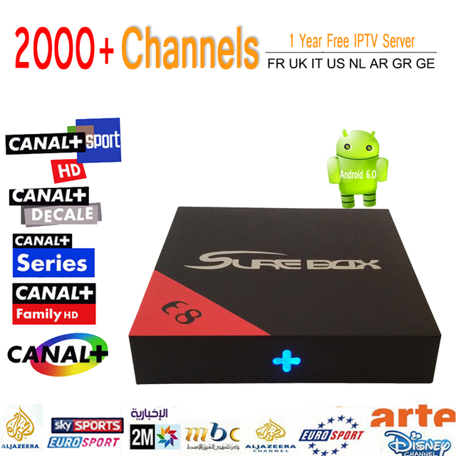 E8 KDOI S905X Amlogic Android 6.0 Caixa de Tv Wi-fi 16.1G \ 8G 4 K Smart Media Player Com 2000 + 1 Ano Eupore IPTV Itália Árabe ip TV