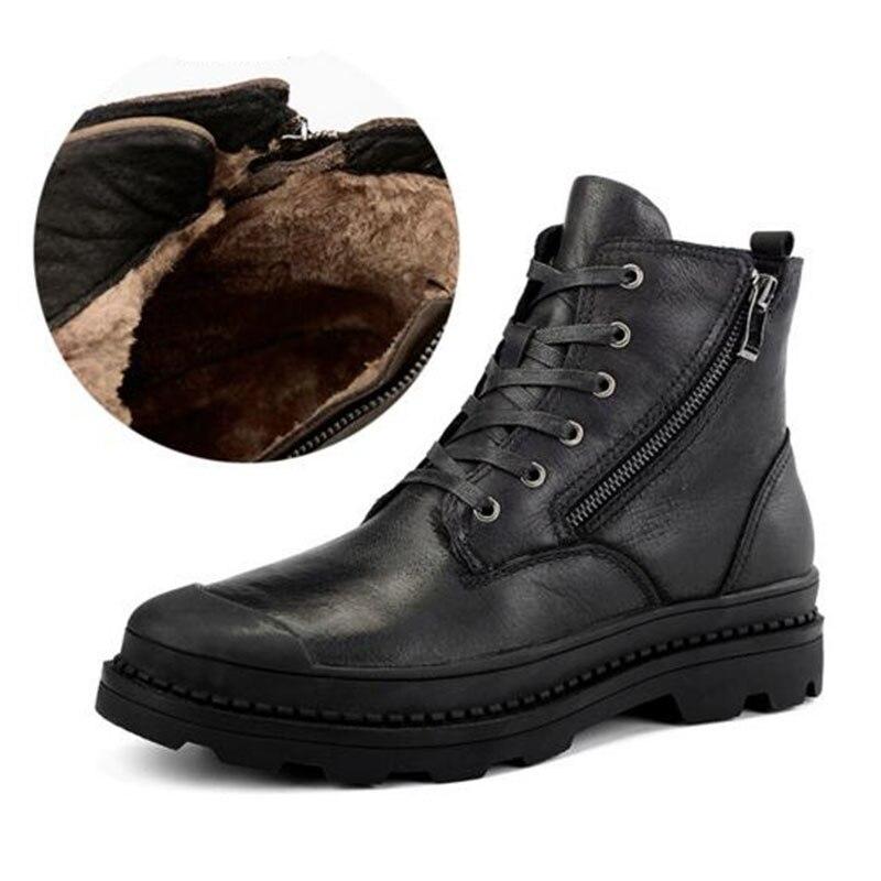 Winter New Arrival Men Cotton Fabric Ankle Martin Boot,Warm Genuine Leather Non-slip Wear-resisting Casual Zipper Boot Big Size