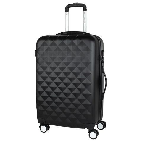 Stylish black suitcase PROFFI TRAVEL PH8645black M plastic, with built-in scales medium combination lock fashionable suitcase with print proffi travel ph9209 m plastic medium with combination lock