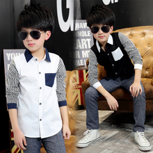 2016 Spring Kids Boys Shirts Long Sleeve Cotton Boy Shirt Casual Plaid Boys Blouses For 10 years Children Clothing Kids Clothes