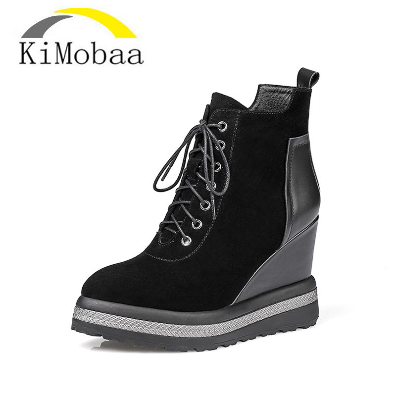 Kimobaa Women's boots Platform Black Women Ankle Boots Lace Up Shoes Woman Increasing Heel Genuine Leather Free Shipping TX139 genuine leather baby shoes lace up toddler baby moccasins mixed colors boys shoes first walkers free shipping