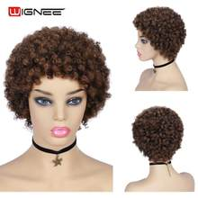 Wignee Short Human Hair Wig With Bangs For Black/White Women Remy India Hair Jerry Curl Pixie Cut Human Wig 150% Density HairWig(China)