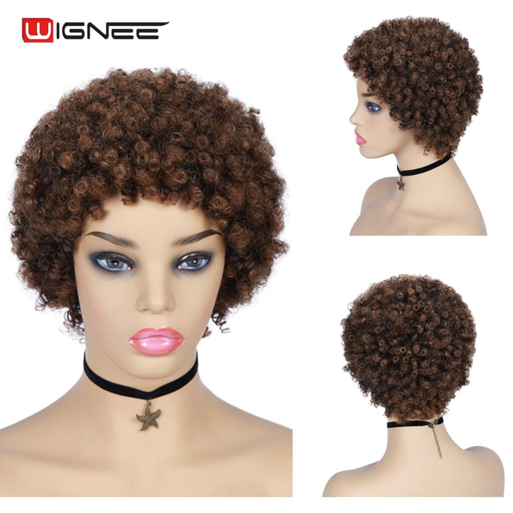Wignee Short Human Hair Wig With Free Bangs For Black Women Remy Hair Jerry Curl Short Pixie Cut Glueless Cheap Brown Human Wig