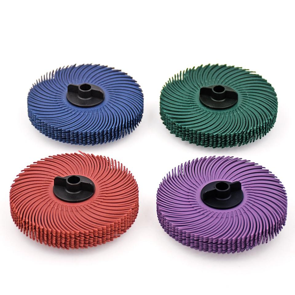10pcs 3M Discos de rueda de cepillo de cerdas radiales Herramientas abrasivas Pulido Cepillos de muela para amoladora de banco con cubo de plástico 1pc