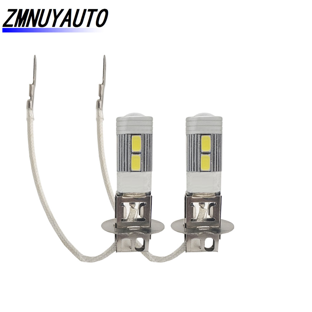 2PCS LED Lamp H3 Bulb Car Fog Light 5730 LED 10SMD Auto DRL Daytime Running Lights Super Bright  12V 6000K