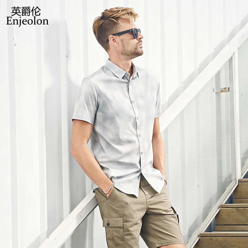 c81f4166bcd1881 ... Enjeolon брендовая летняя рубашка с короткими рукавами мужские  хлопковые рубашки с принтом Мужская Повседневная рубашка для ...