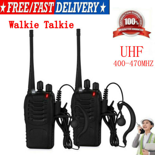 Walkie Talkie UHF 400-470MHZ Portable 2-Way Radio USB Charger+Earpiece US