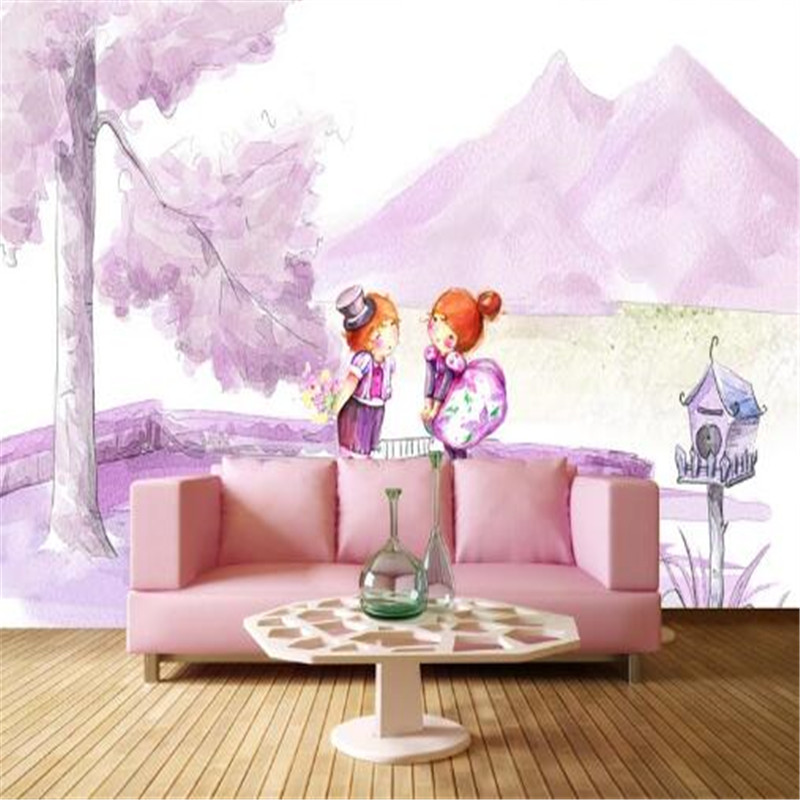 3D Wall Paper for Walls Purple Cartoon Non-Woven Wallpapers Romantic Full House Mural Bedroom Living Room Decorative Wallpapers full house