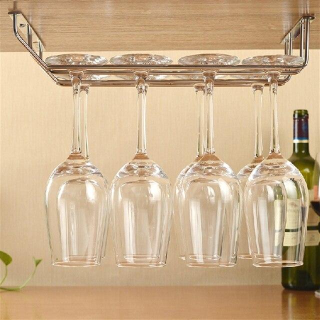Kast Voor Glaswerk.Us 5 39 28 Off Wijn Glas Rack Houder Onder Kast Glaswerk Hanger Plank Bar Rvs Rekken Winkel Extra Wijn In Wijn Glas Rack Houder Onder Kast Glaswerk