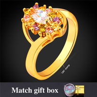 Kpop Color Cubic Zirconia Ring For Women Engagement Ring Gold/Silver Color fashion Gift Box Romantic Gift For Girl R1643Y