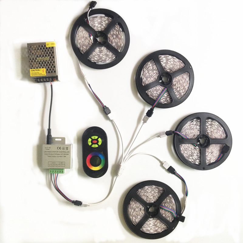 RGB SMD 5050 20M 15M 10M 60Leds/M Led Strip christmas Lights Non-Waterproof Tape+RF Touch remote Controller