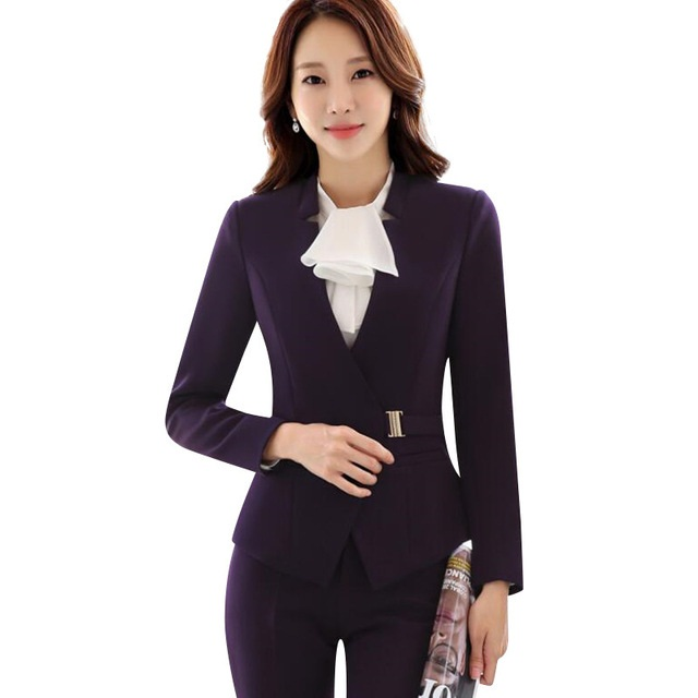 New fashion women business pants suits set winter formal office work plus size pants suits blazer and Trousers