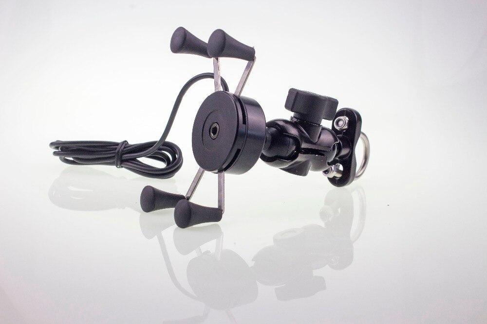 imágenes para Universal de La Motocicleta Scooter Holder Soporte Del Teléfono Móvil Y Cargador USB 5 V 2A Bar de Montaje Del Espejo Retrovisor 3.5-6.0 Pulgadas