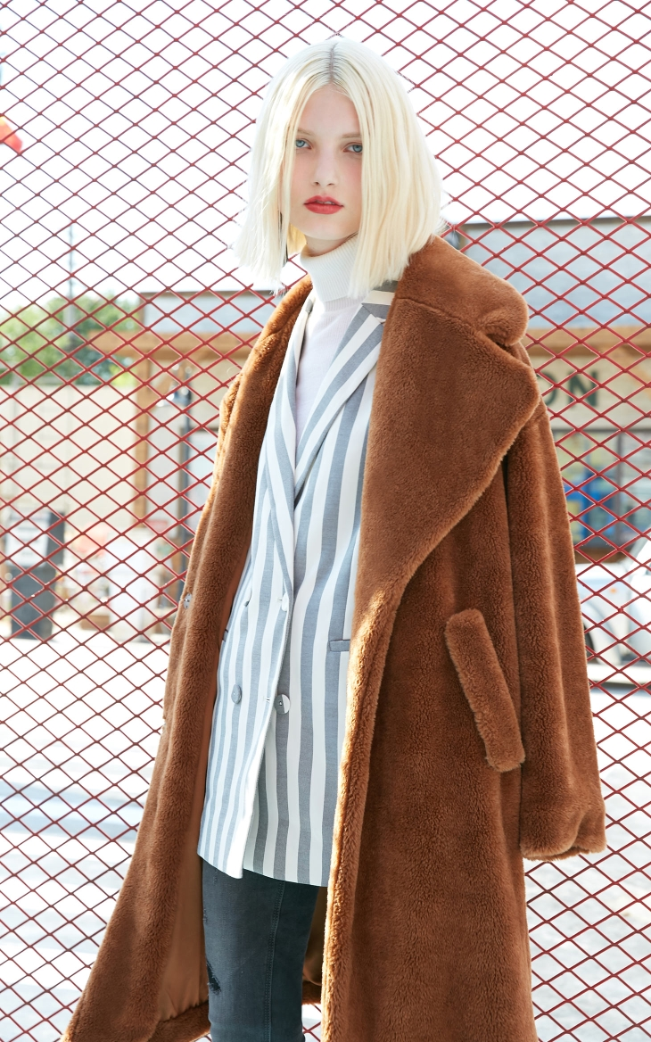 Vero Moda lapel drop shoulder long teddy bear winter coat jacket | 318309503 12