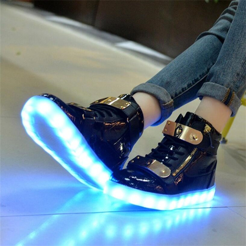 2017 Men led shoes unisex tenis masculino Luminous Led Light Up Shoe Men led Shoes For Adults men's casual shoes red bottom high
