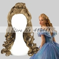 Free Shipping 55cm Medium Long Wave Cinderella Wig Cosplay Brown Synthetic Anime Lolita Wig Cosplay Costume Hair Wig