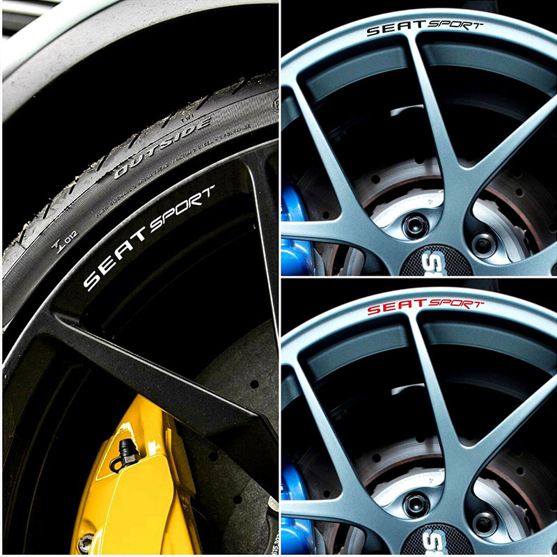 4pcs For SEAT SPORT Rims Alloy Wheels Curved Decals Stickers Ibiza Cupra Leon FR TDi