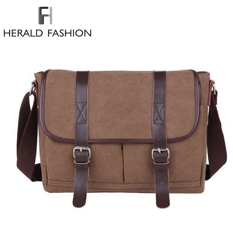 Casual Men's Messenger Bag Canvas Leather Satchel Vintage Men Shoulder Bag Crossbody Bag Briefcase Fashion Men's Bag Bolsas