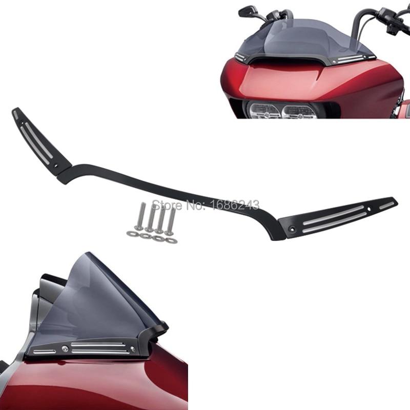 New Aluminum Alloy Split Windshield Center w Side Trim Fit For Harley Davidson Road Glide FLTRX