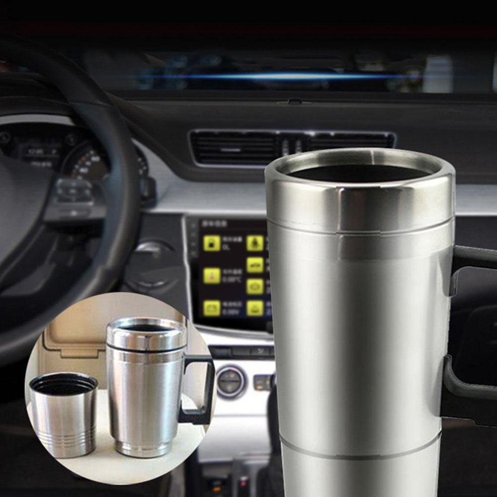12V/24V 450ml Auto Car Heating Cup Stainless Steel Electric Heated Water Mug Kettle Travel Coffee Tea Heated