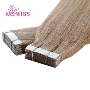 Image 5 - K.S парики Remy лента из человеческих волос, двойные нарисованные прямые Бесшовные волосы для наращивания кожи 16 20 24 10 шт./упак.