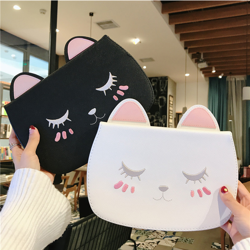 Cute Cat PU Leather Cover Tablet Stand For Apple IPad 4 9.7 2018 Air 2 3 Pro 11 10.5 Mini 4 5 Flip Cartoon Protective Case Bag