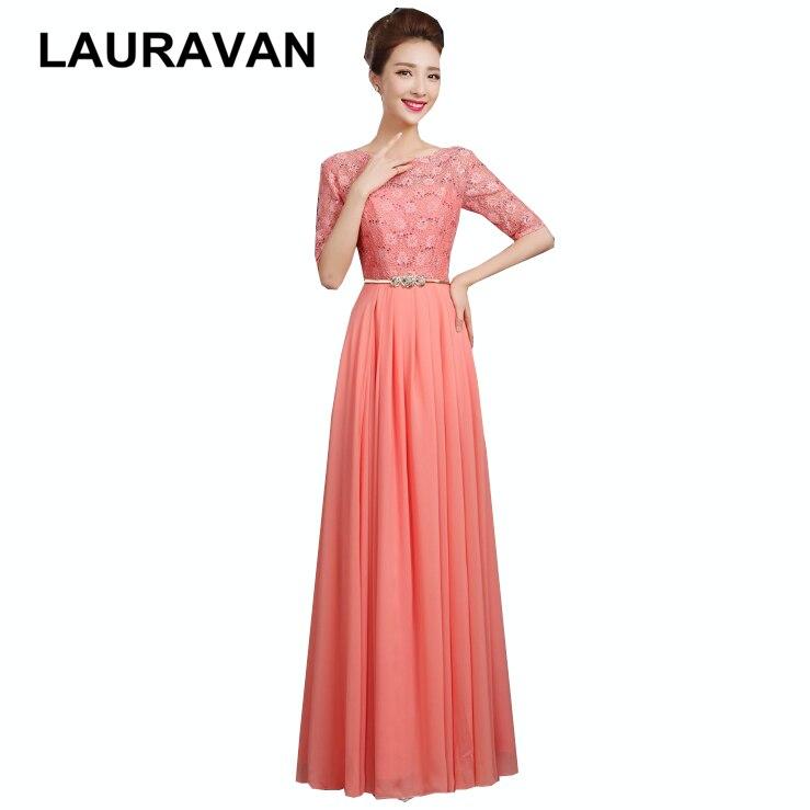 Женское вечернее платье с рукавами кораллового цвета, кружевное платье длиной до пола, вечернее сексуальное платье для дня рождения, Элеган