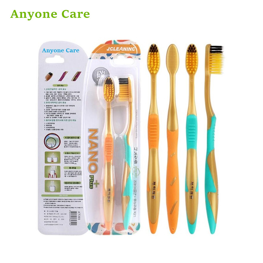 Korean 2pcs/pack Gold Nano+ Charcoal Toothbrush Adult Teeth Cleaning Antibacterial Nano Superfine Soft Hair Couple Toothbrush