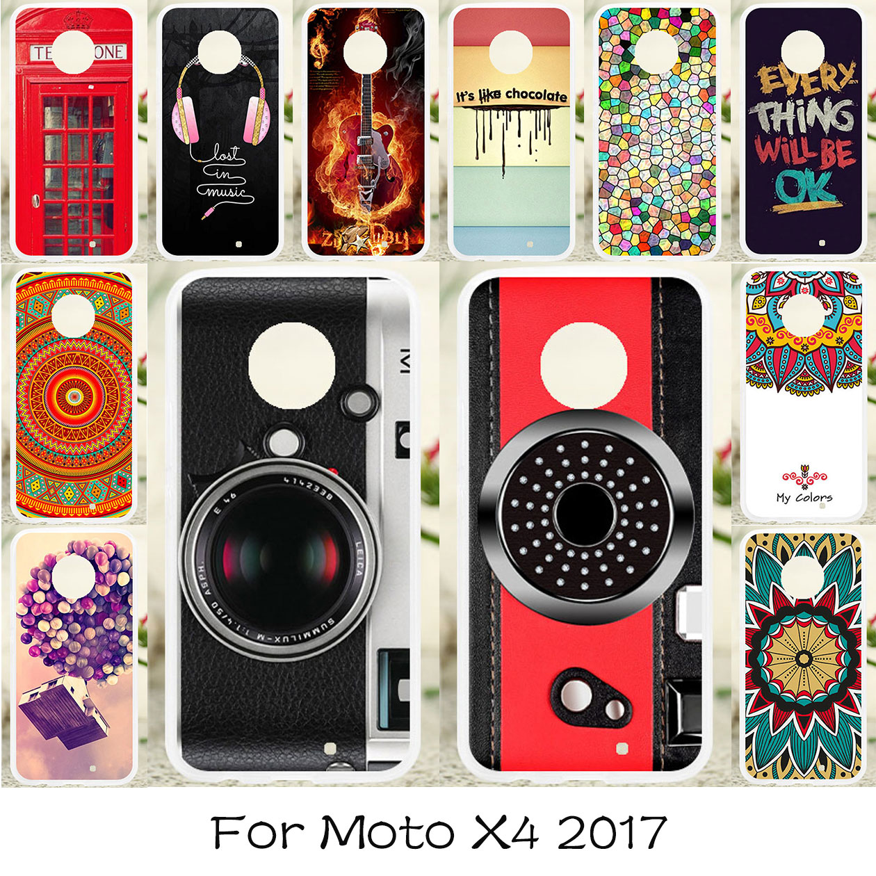 TAOYUNXI Soft TPU Case For Moto X4 2017 Cases Silicone Cover For Motorola X4 2017 Covers Flexible Colorful DIY Painted Fundas