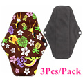 3Pcs/Pack Washable Sanitary Napkins with Charcoal Absobancy Layer Sanitary Reusable Cloth Menstrual Pads Comfort and Support Set