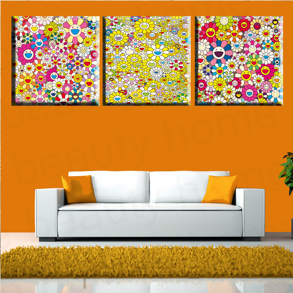 Paintings For Living Room Wall Aliexpresscom Buy 3 Panel Modern Art Painting Takashi Murakami
