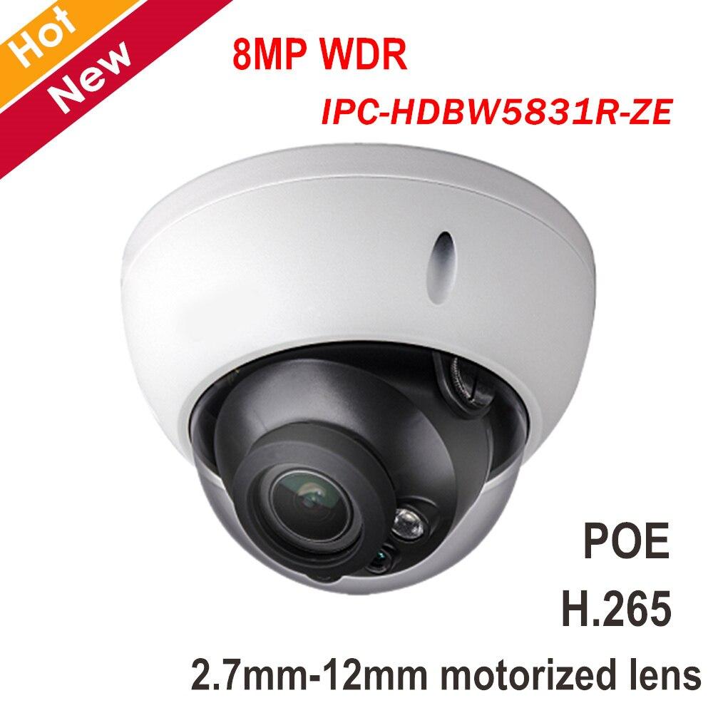 8MP POE DH IP Caméra IPC-HDBW5831R-ZE 8MP WDR IR Dôme Réseau Caméra H.265 2.7mm-12mm objectif motorisé accueil caméra de Sécurité