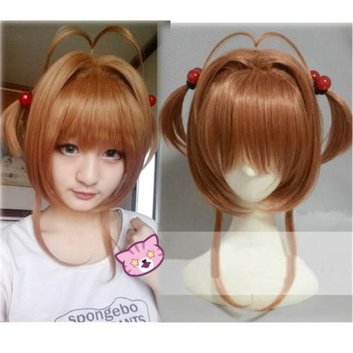 High Quality Sakura Kinomoto Wig Anime Card Captors Sakura Cosplay Costume Wigs Halloween Costumes Hair + Red Balls Hairbands