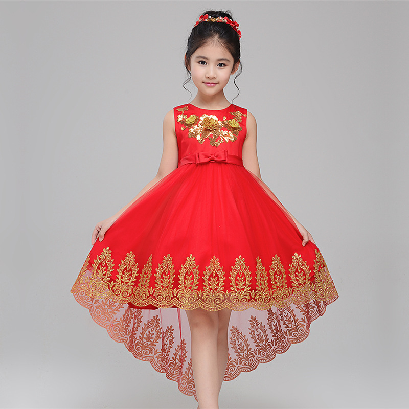 Elegant Exquisite Dovetail Embroidery Red Flower Girls Party Wedding Dress Kids Baby Sequins Gold Wire Birthday Communion Gowns