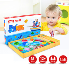 12 Fishes + 2 Fishing Rods Wooden Children Toys Fish Magnetic Play Fishing Game Box Kids Educational Toy Christmas Gift Boy Girl wooden magnetic educational intelligence development fishing game kids toys magnet fish kid educational toy go fishing game w201