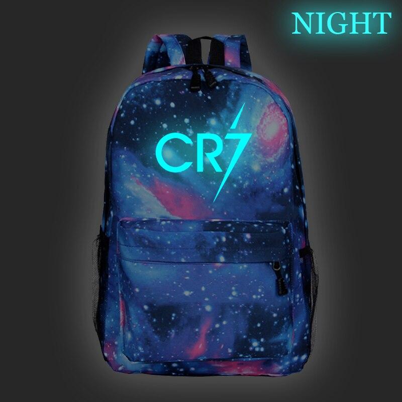Cristiano Ronaldo CR7 Luminous Backpack Boys Girls School Bags Fashion Night Glow Laptop Backpack Teens School Bag For Kids