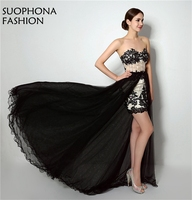 New Arrival Black Prom Dresses High Low Lace Beaded Vestido De Festa Sexy Short Prom Dress