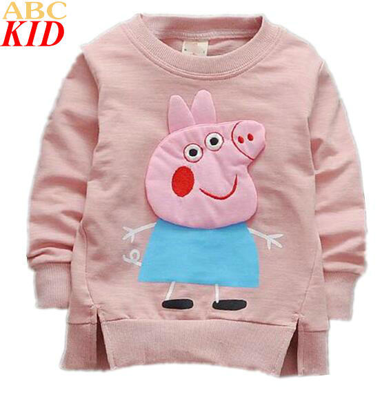 2017 Spring Baby Boys Girls 3D Cartoon Pig Hoodies Long Sleeves Tops For Kids T-shirts Infants Sweatshirts Pink Green Blue KC186