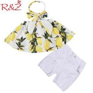 R & Z Del Bambino Delle Ragazze Vestiti Set 2019 Estate Ins Cotone Limone Tubo T-Shirt Top + Fascia + Bianco Shorts 3 pcs Bambini Che Coprono il Vestito k1(China)
