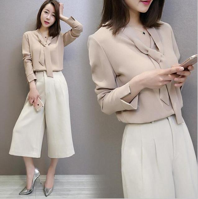 Chiffon Tops Women Two piece sets Top and Trousers Women Suit Solid Bow Collar Elegant Lady Office Work Suits Beige Bow