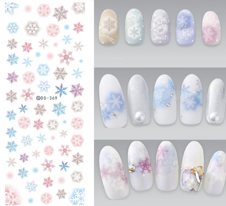 NEW DS369 Snowflakes Snow Design Water Transfer Nails Art Sticker Decal Colorful Winter Nail Wraps Xmas Christmas ds311 new design water transfer nails art sticker harajuku elements colorful water drops nail wraps sticker manicura decal
