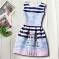 Мультфильм Gilr новый летние девочки цветочные платье с европейский стиль дизайнера с бантом детей платья детская одежда 6-16Y