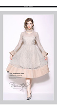 New fashionable long-sleeved lace stitching mid-long slim dress Party Evening Casual Street