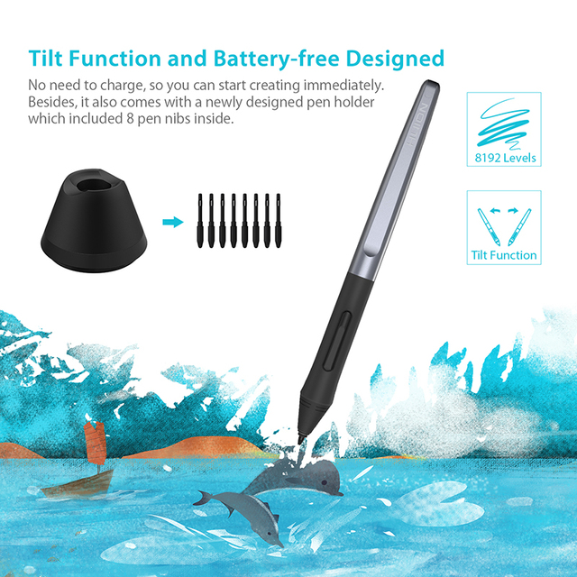 Huion H610 PRO V2 Digital Graphic Tablets Artist Designer Drawing Tablet Tilt Function Battery-Free Pen Tablets for Win and Mac