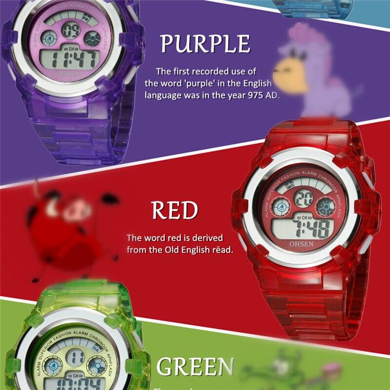 OHSEN Kids Watches Children Digital LED Fashion Sport Watch Cute Boys Girls Wrist watch Waterproof Gift Watch Alarm Kids Clock (32)
