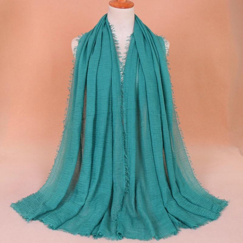 2018 New Folds Monochrome National Wind Headband Women Scarf Wholesale Pure Color Cotton Hijab Foulard Lady Scarves