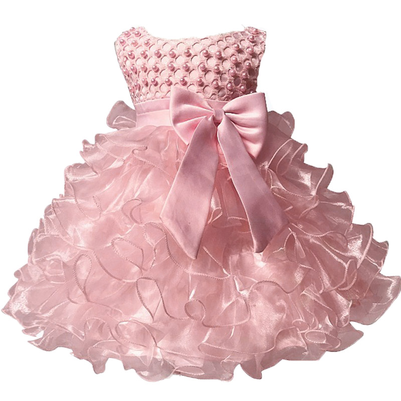 Baby Kids Pearl Princess Baptism Party Tutu Dress For Girls Infant Girl's Christening Birthday Dress Toddler Carnival Vestidos(China)